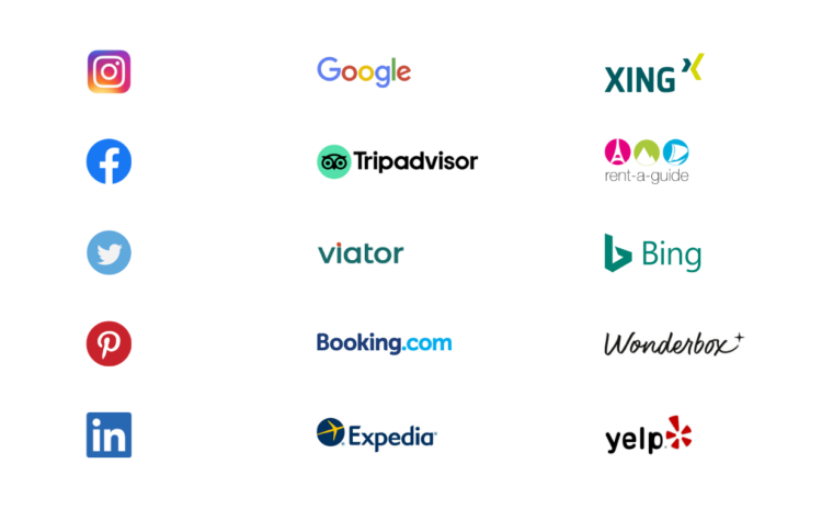 Online marketing tools and channels for your business success: XING, Rent A Guide, Bing, Wonderbox, Yelp, Expedia, Booking.com, Viator, TripAdvisor, Facebook, Instagram, Twitter, Pinterest, LinkedIn and Google.